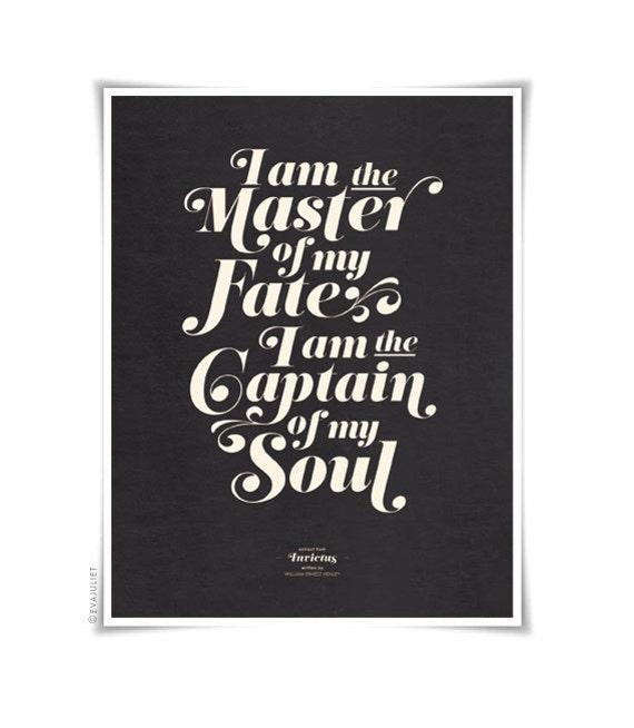 INVICTUS on black - typography art print - 8.5 x 11 in French or English - vintage collection