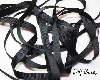 3/8 Solid Black Grosgrain Ribbon - 5 Yards