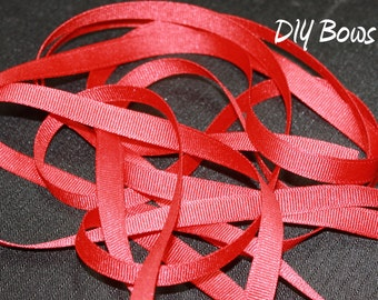3/8 Solid Red Grosgrain Ribbon - 5 Yards