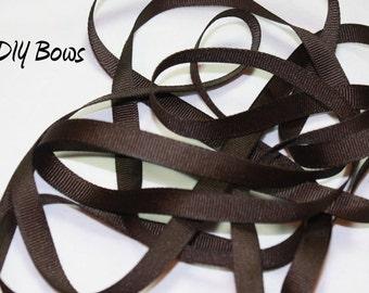 3/8 Solid Chocolate Brown Grosgrain Ribbon - 5 Yards