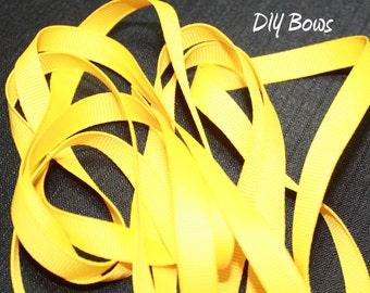 3/8 Solid Yellow Grosgrain Ribbon - 5 Yards
