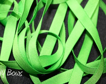 3/8 Solid Apple Green Grosgrain Ribbon - 5 Yards
