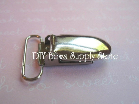 "10 Metal Pacifier Clips - 1"" or 2.5 cm Suspender / Pacifier / Bib Holder"