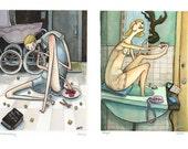 fictional girls postcard set