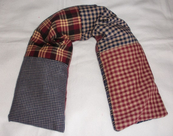 Long Neck Microwave CORN or WHEAT Heat Pad / Cold Pack 23x5 Patchwork Plaid Blue-Marroon