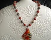 Agate Gemstone Pendant and Red River Jasper Beaded Necklace, Bracelet, Earrings