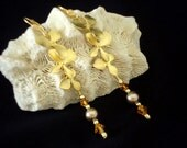 Cascading Gold Plated Orchids, Crystal, and Pearl Pierced Earrings