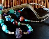 Amethyst Turquoise Gemstone Necklace