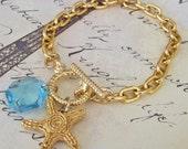Mara Charm Bracelet - Vintage Chandelier Prism and Golden Starfish