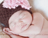 Baby Girl Newborn Hat Chocolate Brown Pink Rosettes Photo Prop