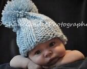 Baby Boy Large Pom Knit Hat - Blue
