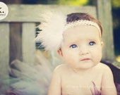 Baby Lace Headband with maribou pouf in Cream White Pink Lavender Black