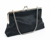 SALE Classic Black Leather Framed Clutch - cross-body chain strap available upon request
