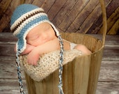 Crochet Earflap hat, Boy - Newborn Photography Prop