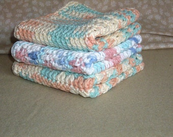 Crocheted ALL Cotton Washclothes set of 3
