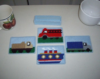 SALE- by Land or Sea set of 4 coasters and holder