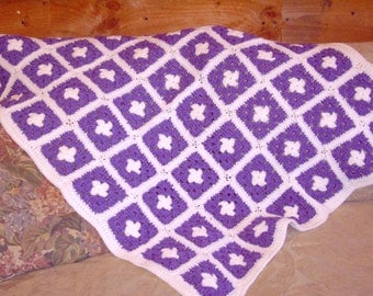 MM--Lavendar and White crocheted Baby Afghan