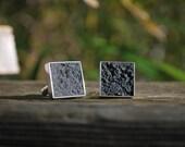 Black Concrete Cuff Links
