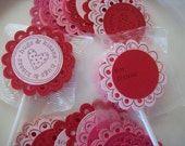 Valentine Lollipop Candy Tags, Hugs and Kisses Valentines - Set of 12