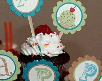 Ice cream cupcake toppers, Ice cream toppers, sweet shop cupcake toppers, cupcake toppers, ice cream social toppers - set of 12