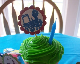 Train Cupcake Toppers, Train Baby Shower, Train Birthday, Transportation Cupcake Toppers - Set of 12