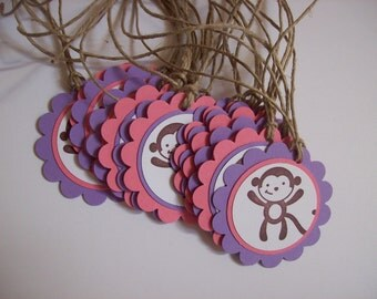 Monkey Favor Tags - Set of 10 - perfect for girl birthday or baby shower
