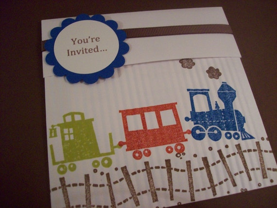 Train Birthday or Baby Shower Party Invitations - Set of 8