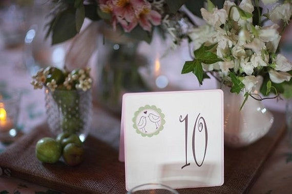 Wedding table numbers, love bird table numbers, wedding table tent cards, reception table numbers - Quantity 10