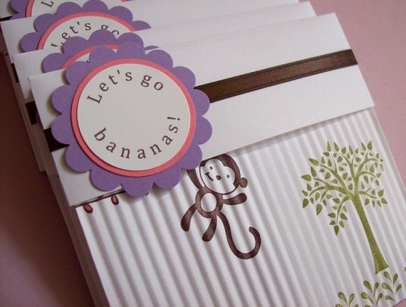 Monkey Invitations - Set of 8 - Perfect for girls birthday, baby shower or baby announcement