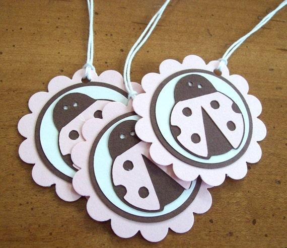 Ladybug favor tags, beetle bug favor tags, ladybug gift tags, ladybug gift labels - set of 10