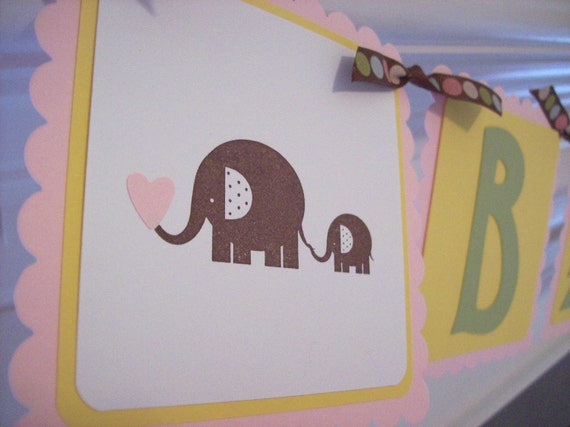Baby Shower Banner, Elephant Banner, Jungle Animal Banner