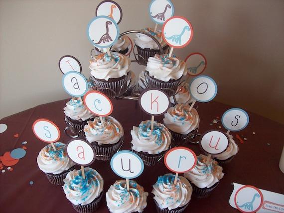 Dinosaur Cupcake Toppers, Prehistoric Cupcake Toppers, Dinosaur Birthday Cupcake Toppers or Baby Shower Cupcake Toppers - Set of 12