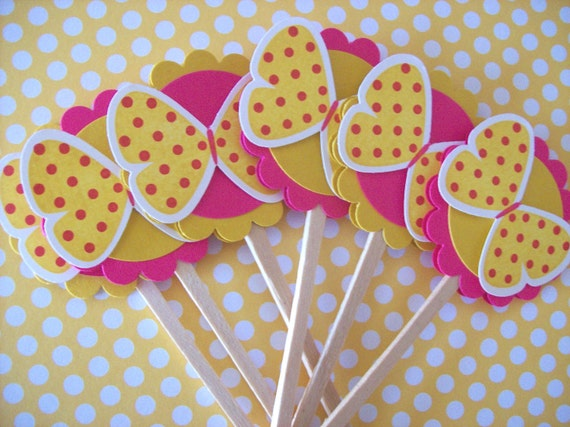Butterfly Cupcake Toppers, Butterfly Toppers, Butterfly Birthday, Butterfly Baby Shower - Set of 12