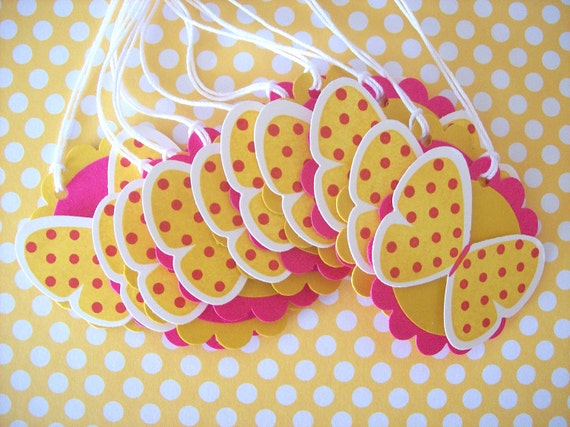 Butterfly Favor Tags, butterfly gift tags - Set of 10