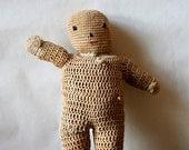 Antique Folk Art Crocheted Doll Handmade