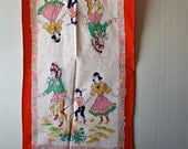 Vintage Native American Pirate Towel 1950s Halloween