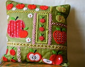 Vintage 60s Mod Pillow Needlepoint Embroidery  Apples