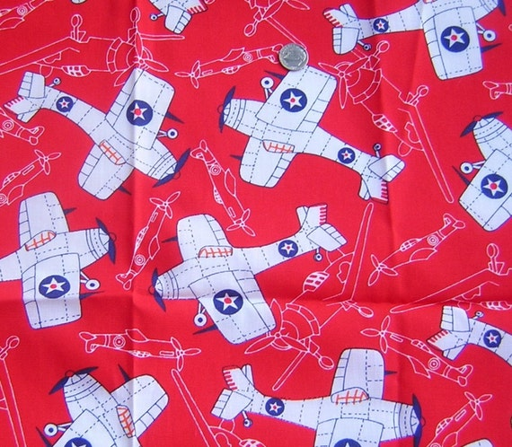 Items similar to vintage juvenile childrens mod airplanes for Childrens airplane fabric