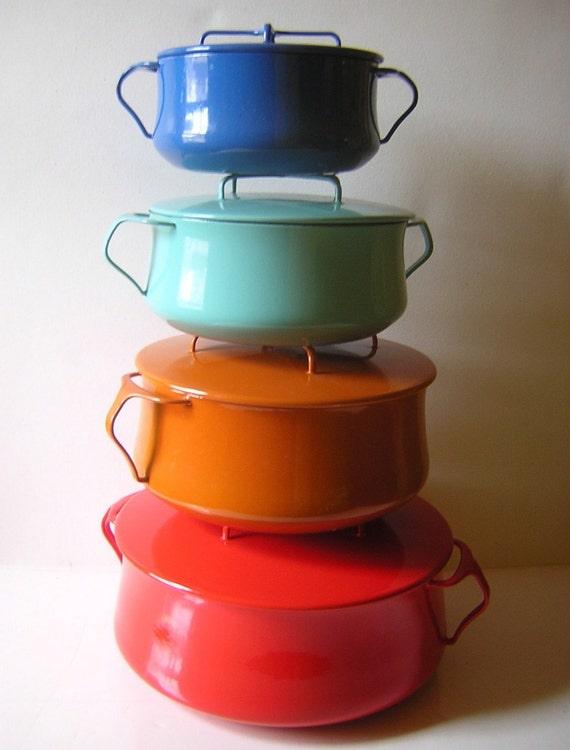 Vintage Dansk Kobenstyle Enamel Cookware -  IHQ Enameled Jens Quistgaard Huge Rare 8 Quart Dutch Oven - Valentine Red - Near Mint