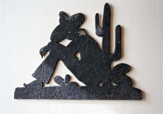 Vintage Metal Silhouette Sleeping Mexican With Sombrero