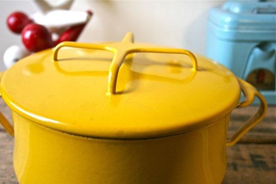Vintage Dansk Kobenstyle Enamel Cookware - IHQ Enameled Jens Quistgaard Dutch Oven - Lemon Yellow