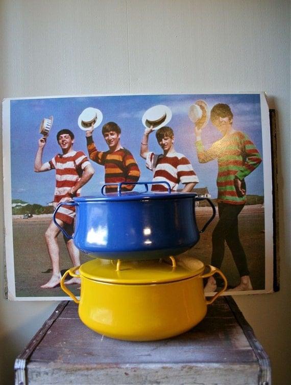 Dansk Kobenstyle Enamel Cookware - IHQ Enameled Jens Quistgaard Dutch Oven - Brilliant Blue - Beatles Era