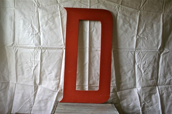 Vintage Big Letter D - Sign Signage - 24 inches - Red