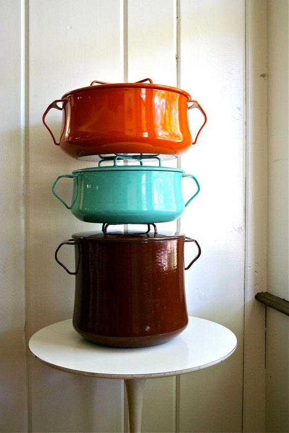 Vintage Dansk Kobenstyle Enamel Cookware - IHQ Enameled Jens Quistgaard Large Dutch Oven - Orange