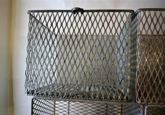 Antique Metal Locker Wire Basket