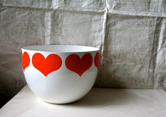 Arabia Finland Finel Heart Bowl Enameled Kaj Franck Red Vintage