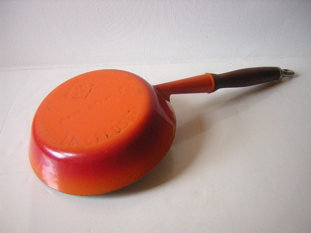 Vintage Lecreuset France Enameled Cast Iron Saute Frying Pan