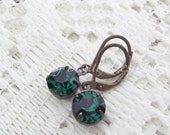 Estate Style Swarovski Emerald Green Earrings