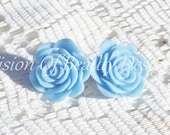 Blooming Baby Blue Spring Flower Clip On Earrings