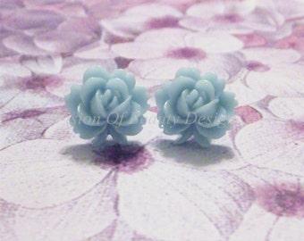 Pale Blue Vintage Style Rose Stud Earrings